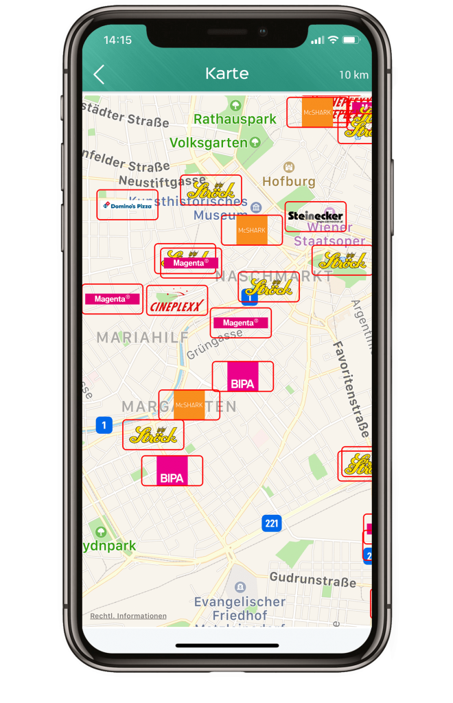 Die interaktive Karte bietet einen Überblick wo sich Angebote in der Nähe des momentanen Aufenthaltsortes befinden.