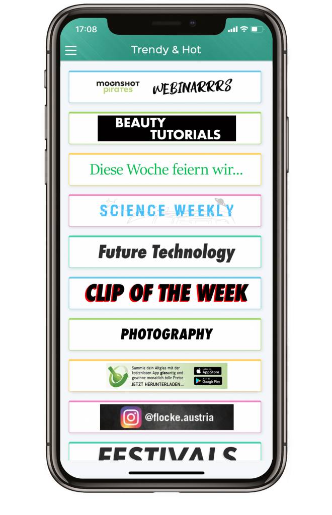 Im Bereich Trendy & Hot werden Themen wie Science, Technology, Festivals oder Clip of the week behandelt.